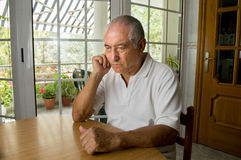 Senior man ost in thought Royalty Free Stock Photo