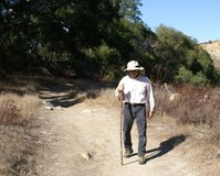 Senior Man Outdoors Walking/Hiking Royalty Free Stock Photo