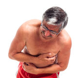 Senior man with painful stomach Stock Photography