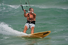 Senior Man Parasail Surfs Off Florida Coast Royalty Free Stock Images