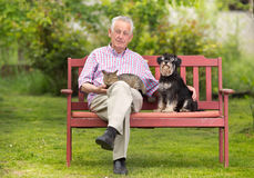Senior man with pets Royalty Free Stock Photo