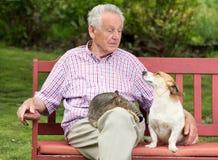 Senior man with pets royalty free stock photos