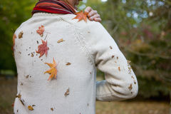 Senior man picking autumn leaves from his sweater Stock Image