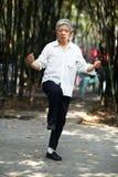 Senior man play taiji boxing Stock Images