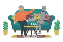 Senior man playing chess with robot on sofa at home. stock illustration
