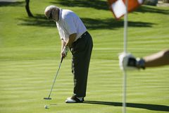 Senior Man Playing Golf stock image