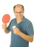 Senior man playing ping-pong table tennis Royalty Free Stock Image
