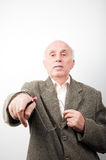 Senior man pointing with hand Royalty Free Stock Photography