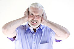 Senior man portrait hangover Stock Photography