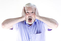Senior man portrait scream afraid Royalty Free Stock Photos