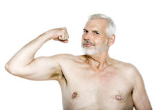 Senior man portrait show muscles Royalty Free Stock Image