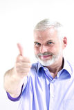 Senior man portrait thumb up success Stock Images