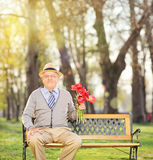 Senior man posing in park with red tulips Stock Photography