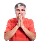 Senior man praying Royalty Free Stock Images