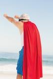 Senior man pretending to be a superhero Royalty Free Stock Photography