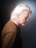 Senior Man Profile. Portrait of the man with grey hair Royalty Free Stock Photography