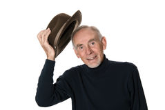 Senior man raising his hat Royalty Free Stock Images