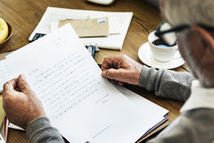 Senior Man Reading Letter Message Concept Royalty Free Stock Photos