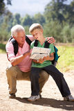 Senior man reading map with grandson Royalty Free Stock Photography