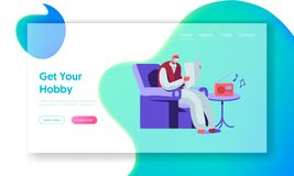 Senior Man Reading Newspaper in Armchair and Listening Music on Radio. Aged Male Character Hobby and Leisure in Nursing Home. Website Landing Page, Web Page stock illustration