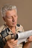 Senior man reading Stock Photo