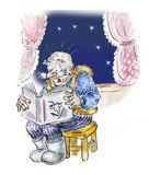 Senior man reading thriller book at night. Comic illustration Royalty Free Stock Photo