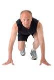 Senior man. Ready to start. Senior runner ready to start Stock Image