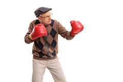 Senior man with red boxing gloves. Studio shot of a senior man with red boxing gloves isolated on white background Stock Images