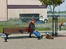 Senior man resting on a bench Stock Photography