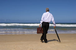 Senior man retirement beach vacation, freedom concept, copy space Royalty Free Stock Photo