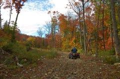 Senior man riding an ATV quad stock photos
