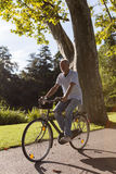 Senior Man Riding Bicycle Royalty Free Stock Photography