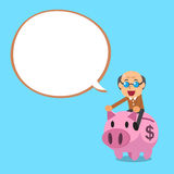 Senior man riding pink piggy bank with white speech bubble. For design Royalty Free Stock Photo