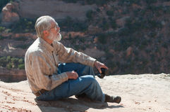 Senior man on rim of Colorado National Monument Stock Image