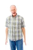 Senior man screaming in frustration isolated on white background Stock Images