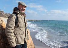 Senior man on the sea beach Royalty Free Stock Photo