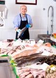 Senior man selling chilled fish Royalty Free Stock Image