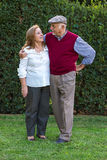 Senior man and senior woman doing a self-portrait Stock Image