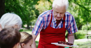 Senior man serving meal to his family stock footage