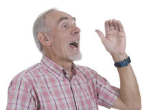Senior man shouting. Into the distance. White background stock image