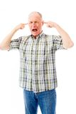 Senior man shouting in frustration Stock Photo