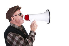 Senior Man Shouting Through Megaphone Royalty Free Stock Photos