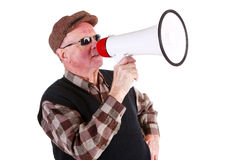 Senior Man Shouting Through Megaphone Stock Image
