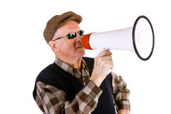 Senior Man Shouting Through Megaphone Royalty Free Stock Photo