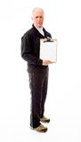 Senior man showing a clipboard Royalty Free Stock Photo