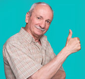 Senior man showing ok sign Royalty Free Stock Images