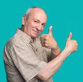 Senior man showing ok sign Stock Photos