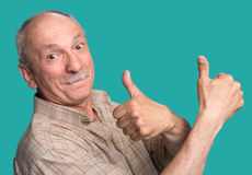 Senior man showing ok sign Stock Photography