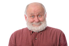 Senior man shows surprised smile facial expression, isolated on white Stock Photos