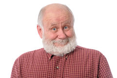 Senior man shows surprised smile facial expression, isolated on white. Handsome bald and bearded senior man shows surprised smile grimace or facial expression Stock Photos